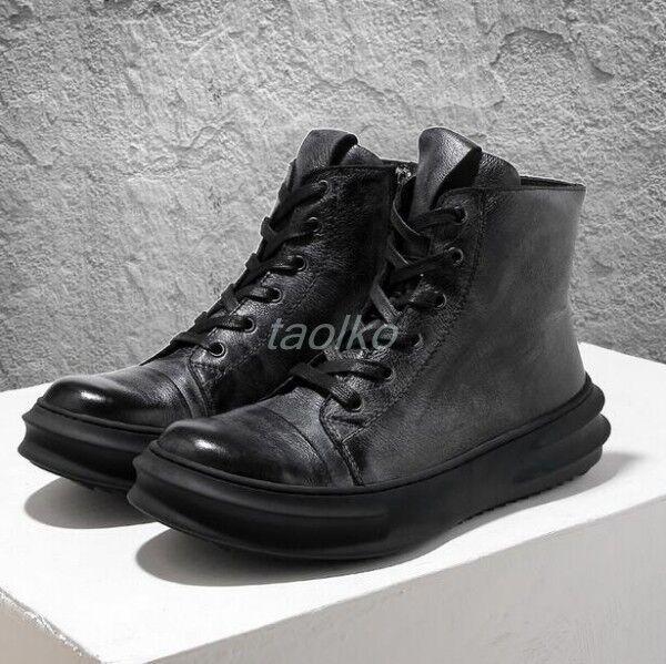 British Men Leather Lace Up Ankle Boots Retro High Top Platform shoes Flats Size