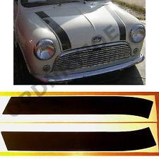 Classic (Rover) MINI bonnet stripes. BLACK/white/silver