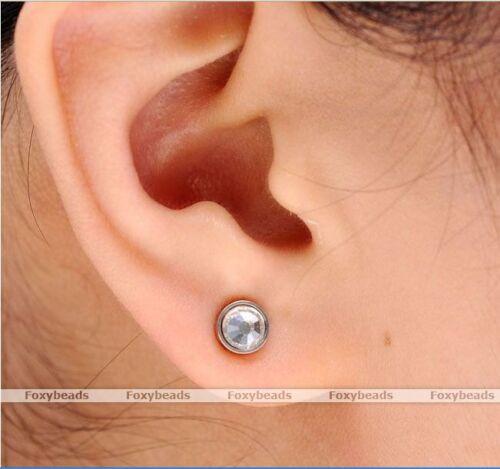 Magnet Edelstahl Kristall Nasen//Ohr// Lippen Fake Plug Piercing Schmuck