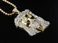 Mens .75 Ct Real Diamond Jesus Head Pendant In Yellow Gold Finish With Chain on Sale