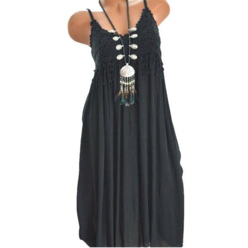 Women Summer Plus Size Tassel Lace Cotton Sleeveless Solid Round Neck Midi Dress