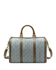 NWT Gucci Vintage Web GG Denim Boston Satchel Shoulder Bag