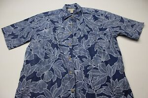 Cooke-Street-Honolulu-Bay-Blue-Floral-CAMP-SHIRT-Large-L