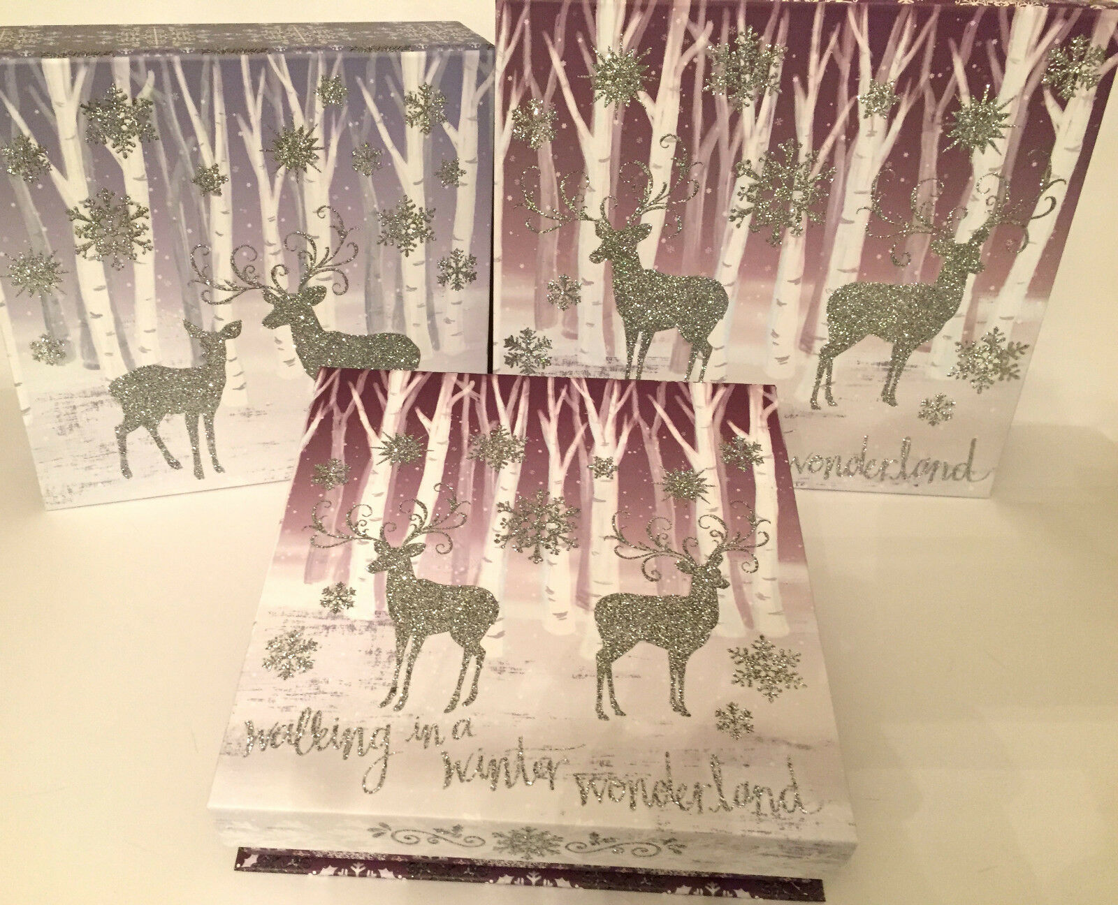 Punch Studio  GLITTERED CHRISTMAS WINTER WONDERLAND  BOXES. SET of 3.  GORGEOUS