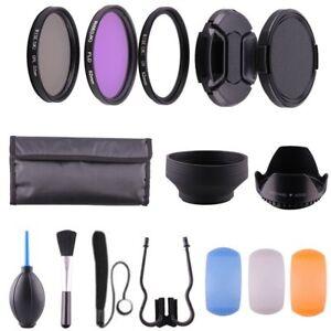 52-mm-Kit-d-039-accessoires-UV-circulaire-polarisant-FLD-Filtre-Lens-Hood-Lens-Cap-pour-Canon-Nikon