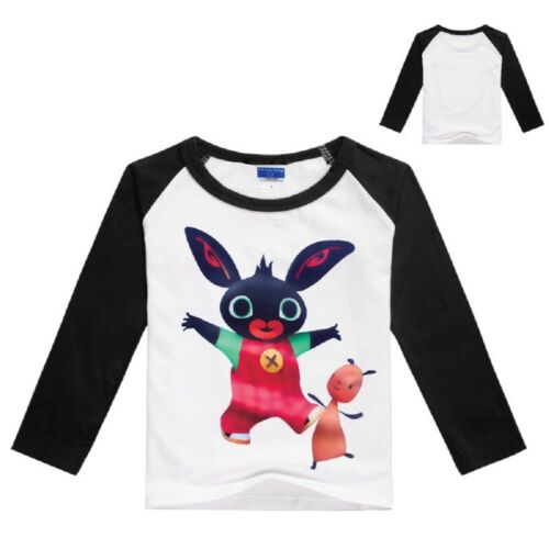in 4 Colours 2-4YR BING BUNNY Kids White Long-Sleeved T-Shirt w//Colour Sleeves