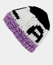 NEW BCBG Generation LA NY Knitted Hat Skull Cap Beanie Purple Black Winter White