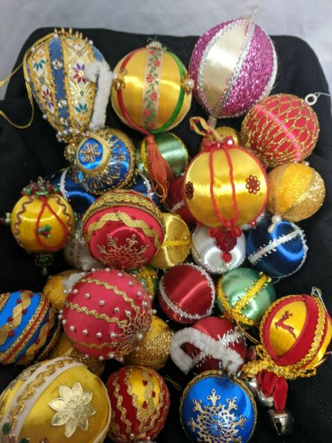 Christmas Ornament Satin Ball 4PC Multicolor Stripe Victorian Holiday Vintage