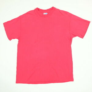 Vtg-80s-90s-Hanes-Blank-T-Shirt-LARGE-Faded-Pink-USA-Single-Stitch-Grunge-Skate