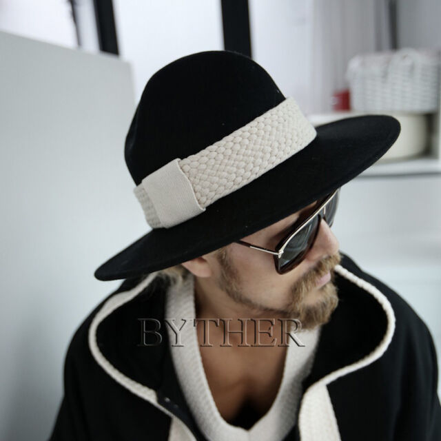 aa334128a78 ByTher Men s Flat Rope Round Black 100% Wool Felt Classic Mountain Fedora  Hat