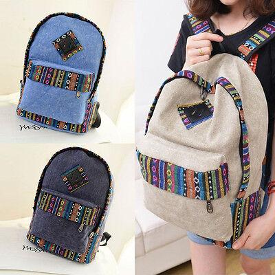 Canvas Backpack Floral Stripe School Shoulder Bag Travel Rucksacks Pop