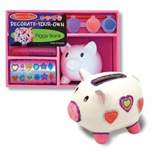 Melissa & Doug PIGGY BANK Design and Decorate Craft Kit MAKES A GREAT GIFT NEW
