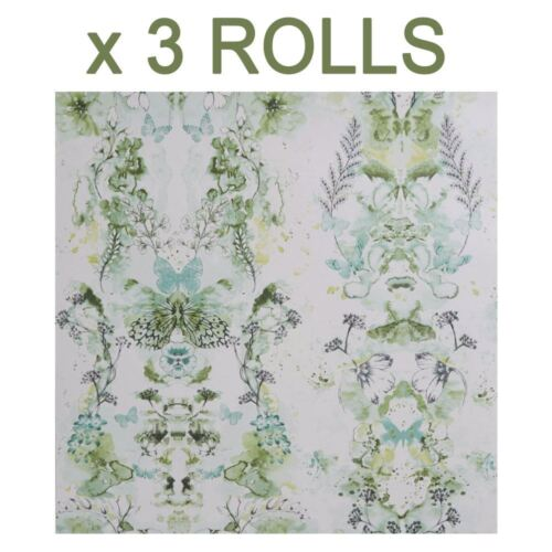 Abstract Watercolour Wallpaper Green White Floral Flower Butterfly Penelope x 3