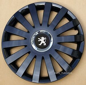"black metallic 14"" wheel trims, hub caps, covers to peugeot 206"