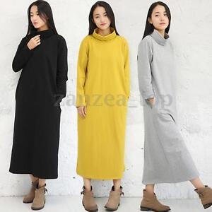 Spring-Women-039-s-Turtle-Neck-Sweatshirt-Dress-Oversized-Long-Sleeve-Loose-Tunic