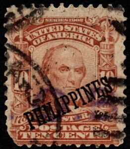 Philippines - 1903 - 10 Cents Pale Red Brown Overprinted Issue # 233 Used Fine