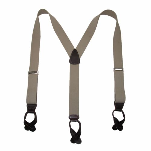 New MTL Men/'s Elastic Button End Dress Suspenders with Silver Hardware USA Made