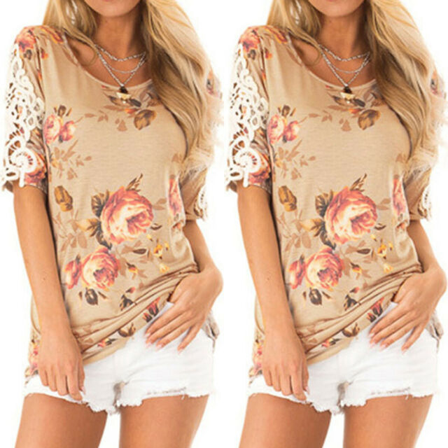 Women Lace Crochet Floral Short Sleeve Blouse Top Casual Party Beach Tee T-shirt