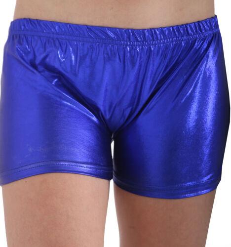 Ladies Womens Metallic Wet Look Hot Pants Short Shiny Disco Party PU Mini Shorts