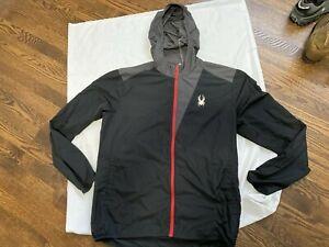 Spyder-Alpine-Full-Zip-Hoody-Windbreaker-Jacket-Mens-Size-large-L-black-gray