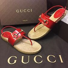 NEW Gucci Espadrille Sandals Horsebit Detail Hibiscus Red Women's US Size 8.5