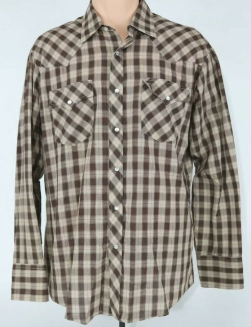 Vintage Montgomery Ward Mens L Brown Plaid Pearl Snap Western Button Up Shirt
