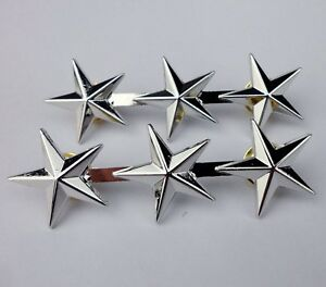 Military-Army-Three-Stars-Rank-Badge-Pin-Insignia-PAIR-0078