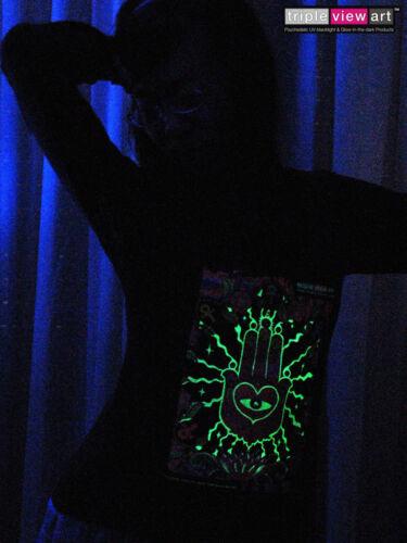 WOMENS HOOD T-SHIRT UV-Blacklight Glow-In-The-Dark Psychedelic Psy Goa Trance