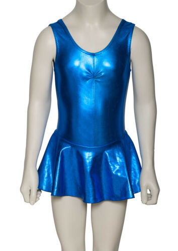 Royal Blue Metallic Dance Leotard With Skirt Dress KDR005 Katz Dancwear SECONDS