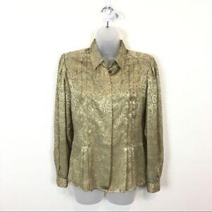 Liz-Claiborne-Vintage-Gold-Swirl-Silky-Satin-Dressy-Career-Fitted-Blouse-Sz-8P
