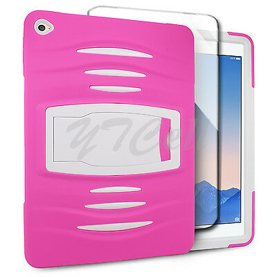 EagleCell Apple iPad Air 2 Hybrid Armor Skin Hard Case Cover Stand ST8