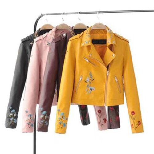 Embroidered Leather Short Punk Motorcycle Biker Jacket Zipper Coat Outwear Women