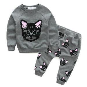 QZO-Toddler-Kids-Baby-Girls-Autumn-Outfits-Clothes-Cat-T-shirt-Pants-2PCS-Set