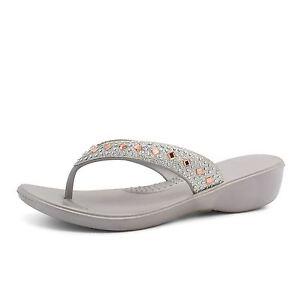 eb5b68cdba4c Details about New Womens Low Wedge Diamante Flip Flops Sandals Ladies  Summer Toe Post Beach UK