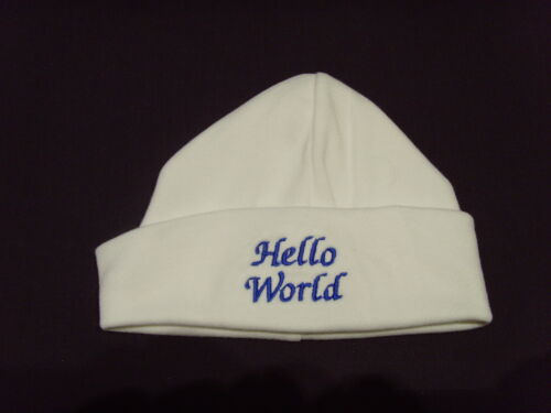 Baby 100/% Cotton Embroidered Personalised Hat With The Saying Hello World