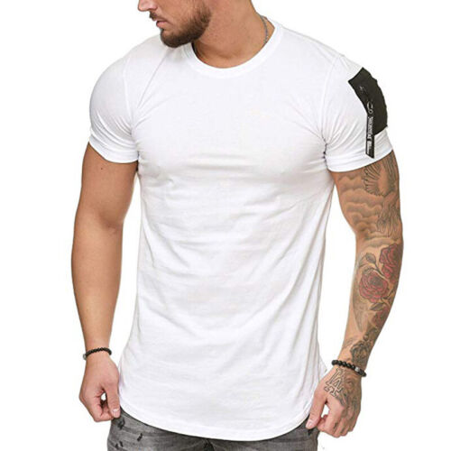 Summer Men/'s Slim Fit T-Shirt Solid Short Sleeve Casual T-Shirt Gym Tops Blouse