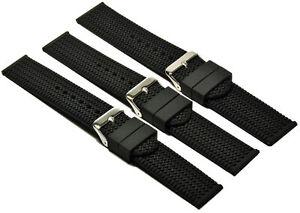 Silikon-Uhrenarmband-Taucher-Armband-Schwarz-mit-Reifen-Profil-20-24mm-Uhrband