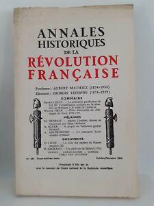 Revista Anales Históricos de La Revolution Francaise Oct - Dic 1966 N º 186
