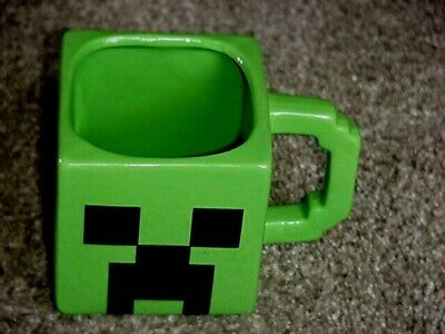 Zak Green Creeper Face Minecraft Square Cup Ceramic Mug 18062 Mojong 8 Ebay