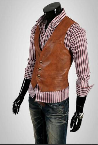 Homme PU cuir Slim Fit Vest Veste sans manches Chemise Causal Fashion Gilet