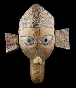 Antico Maschera Tibetano Ganesha Legno 31cm Elefante-Himalaya-Tibet Nepal 25283