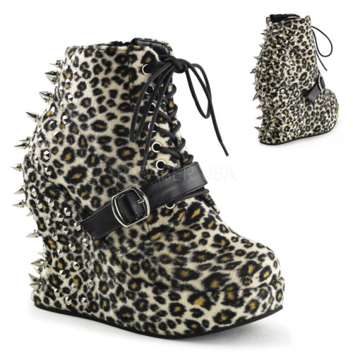 Demonia Bravo23 Ladies Shoe Leopard Lace Up Ankle Boot Wedge