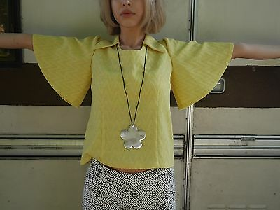 Shirt Giallo Sole S Lurex Glam Hippie Top Blusa 70er True Vintage 70s Shirt-mostra Il Titolo Originale