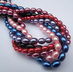 16-034-strand-Glass-Oval-Rice-Pearls-Jewellery-Making-Beads-8mm-x-6mm