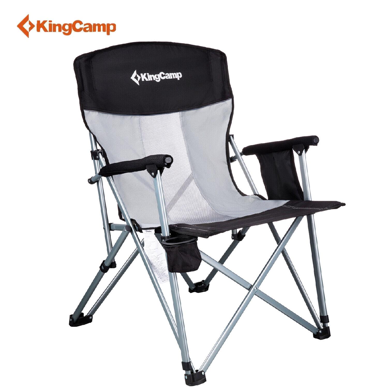 Kingcamp Cámping Silla de malla transpirable  Plegable con brazo duro Reposacabezas Sostenedor de taza  venta directa de fábrica