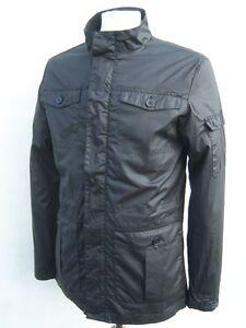 Ligero-Negro-Chaqueta-Impermeable-Utilitario-Militar-Vintage-Algodon
