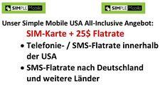 Komplettangebot Prepaid SIM-Karte Simple Mobile USA (T-Mobile)  + 25 $ Flatrate