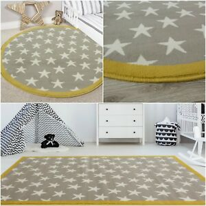 kids grey silver ochre mustard yellow stars warm girls boys bedroom rh ebay co uk