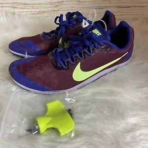 Nike-Zoom-Rival-D-10-Bordeaux-Lime-Blast-907566-600-Men-039-s-Size-10-Medium
