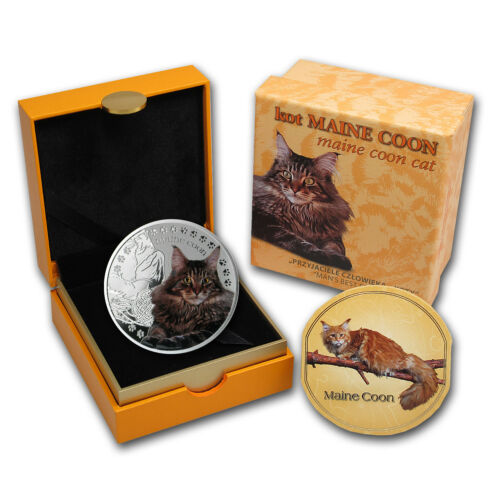 SKU #81721 2014 Niue Proof Silver Man/'s Best Friends Cats Maine Coon